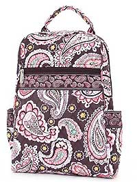 Quilted Paisley Zipper Backpack