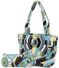 Quilted Retro Floral Lunch Bag Tote