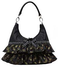 Hobo Bag with Ruffles in Black