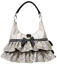 Hobo Bag with Ruffles In Pearl