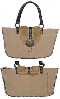 Genuine Suede and Fur Trimmed Tote Bag