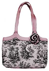Toile Style Bag with Detachable Flower Pin in Pink