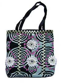 Fabric Tote Bag with Flowers