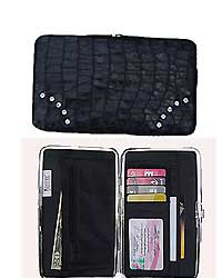 Black Wallet with Crystal Decorations