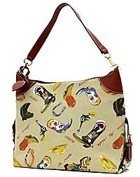 Large Hobo Bag with Horses in Tan