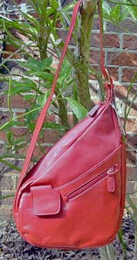 Leather Slingback Handbag in Red