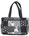 Quilted Patchwork Tote/Diaper Bag in Black