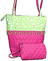 Quilted Pink and Green Polkadot Handbag with Makeup Bag
