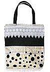 Lace Trimmed Tote Bag with Button Decorations