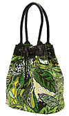 Green Flower Print Bucket Tote Bag